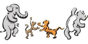 Cartoon African animals dancing